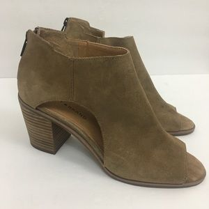 Lucky Brand Keight Cut Out Suede Booties Tan